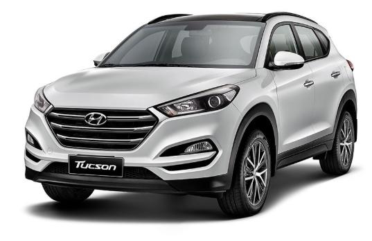 Hyundai Tucson com fundo branco