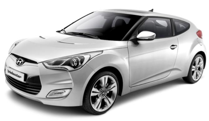 Hyundai Veloster com fundo branco